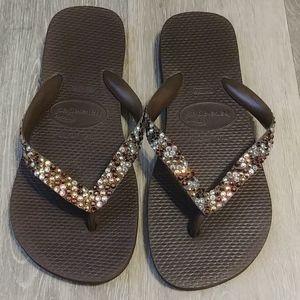 Swarvoski Jewled Havaianas Brown Sandals 6W